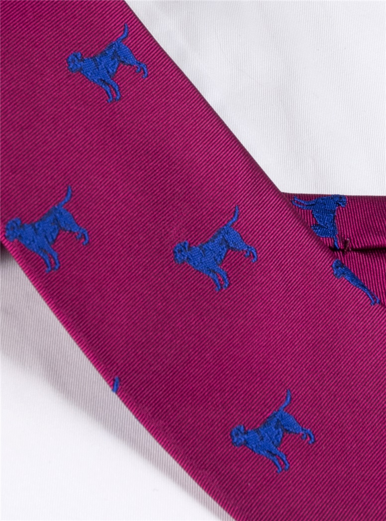 Jacquard Woven Lab Motif Tie in Magenta and Royal