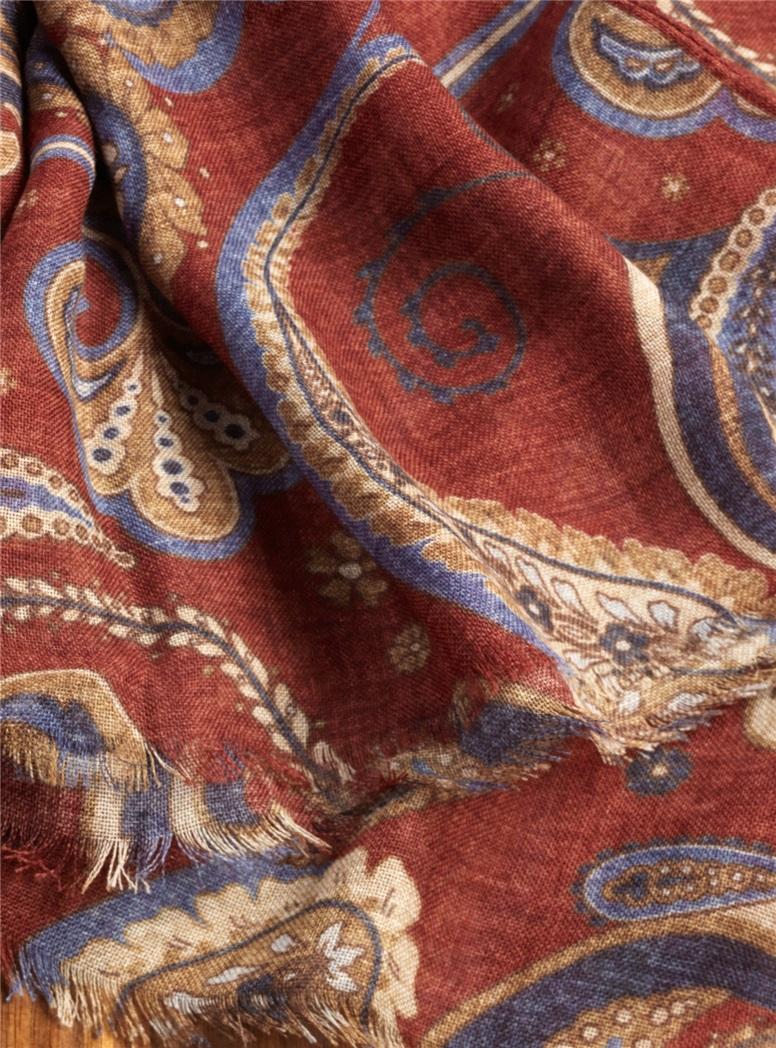 Wool Paisley Printed Scarves