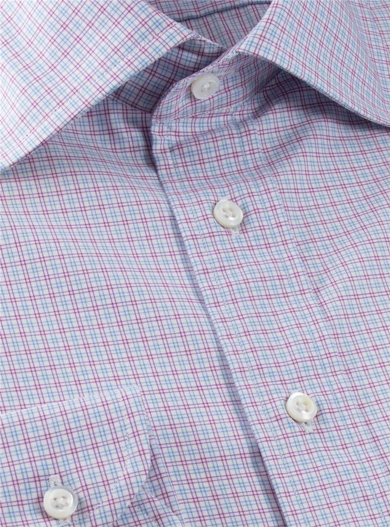 White with Magenta and Sky Check Spread Collar