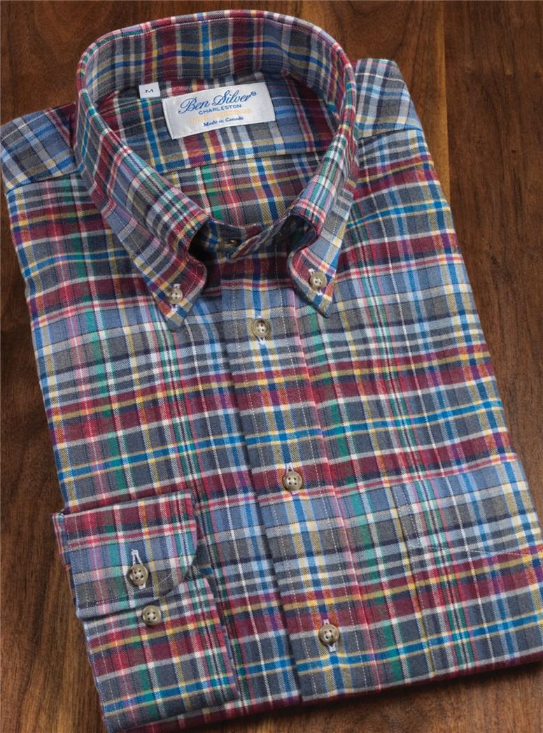 Brushed Cotton Blue and Garnet Plaid Sport Shirt