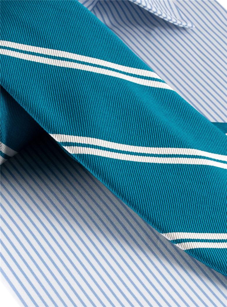 Mogador Silk Double Bar Stripe Tie in Teal