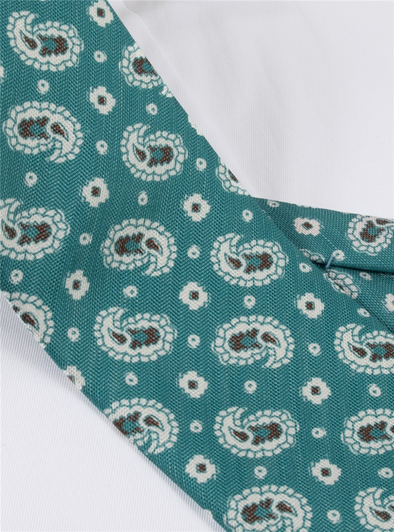Silk and Linen Printed Paisley Tie in Turquoise