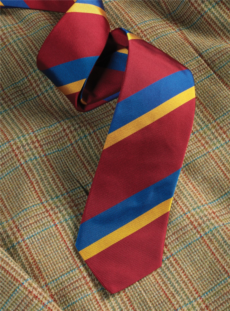 Silk Double Stripe Tie in Ruby