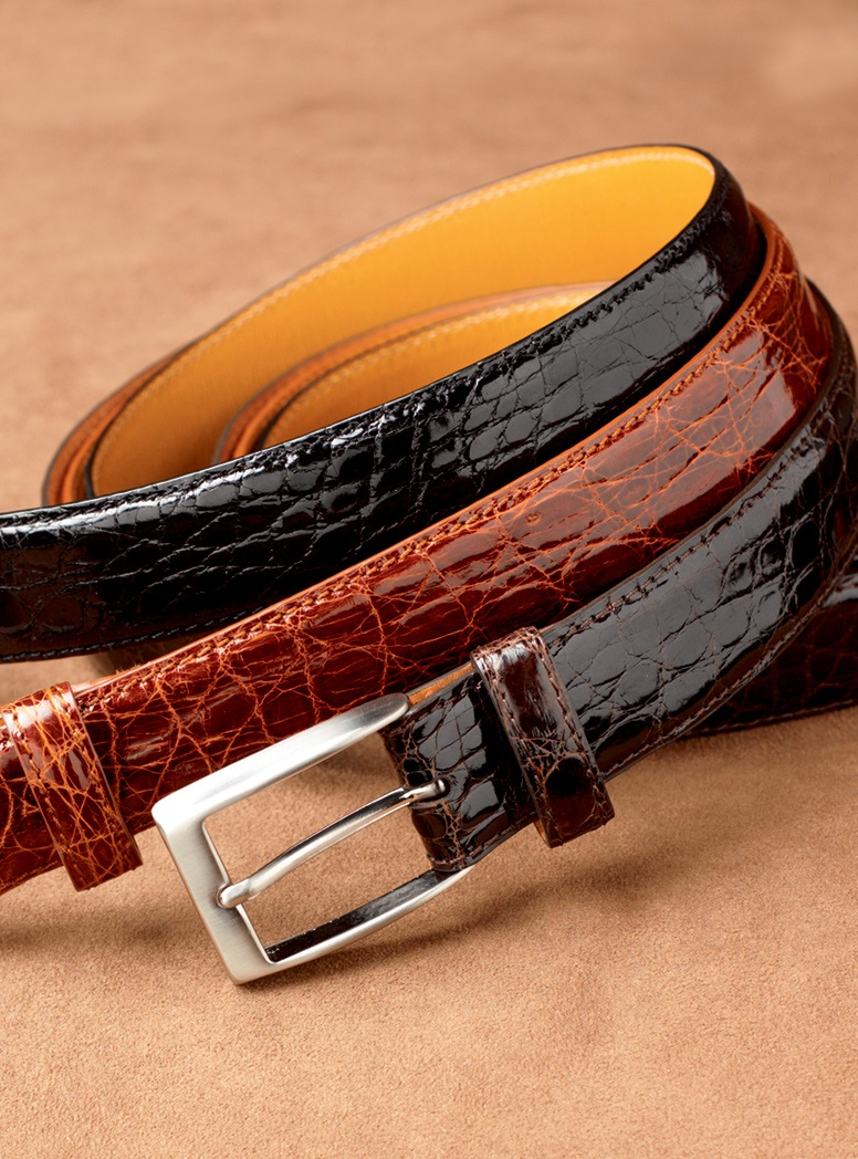 Shiny Finish Crocodile Belts