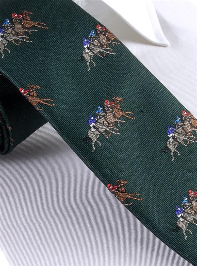 Silk Woven Equestrian Tie in Field
