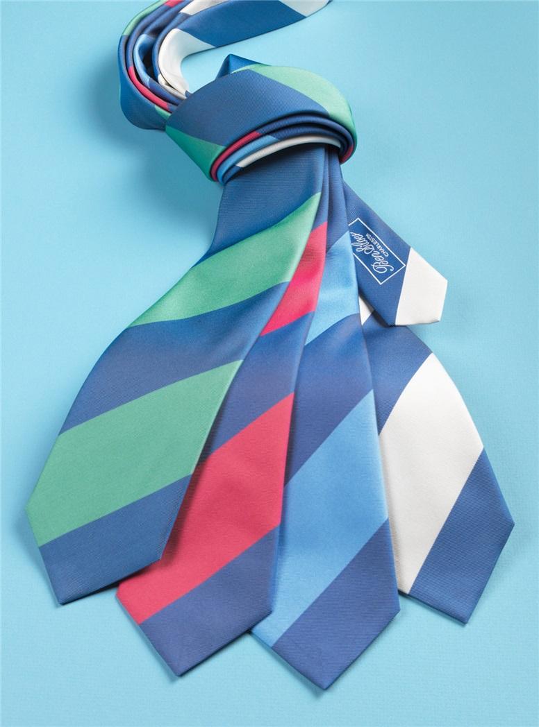 Silk Block Stripe Tie in Denim and White