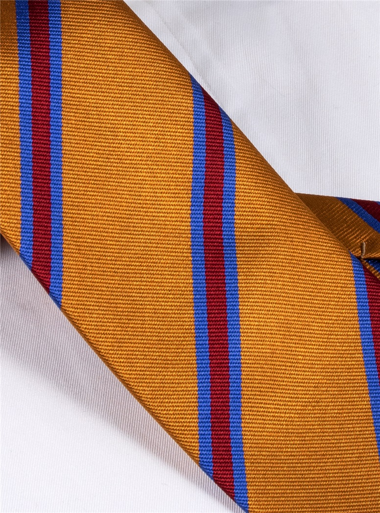 Silk Stripe Tie in Golden