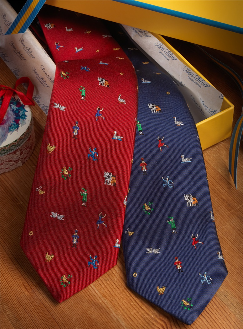 12 Days of Christmas Tie in French Blue
