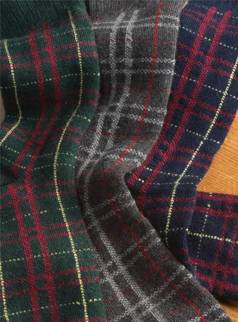 Cashmere Blend Plaid Socks