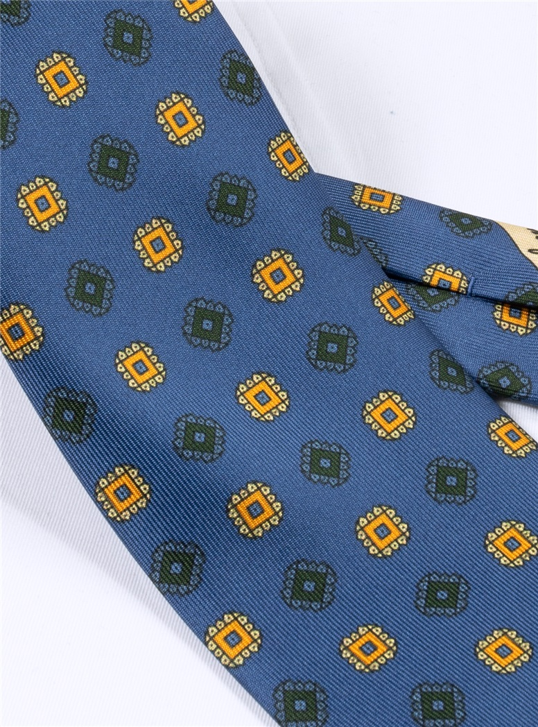 Silk Printed Square Motif Tie in Royal Blue