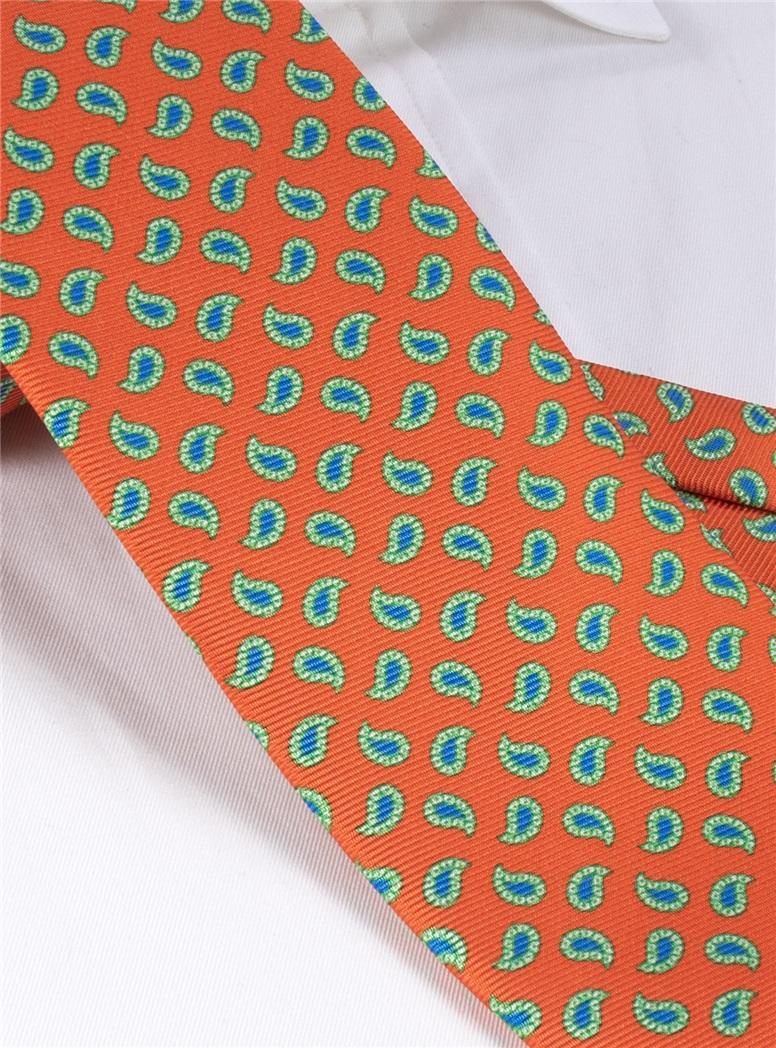 Tie Silk Paisley Tangerine