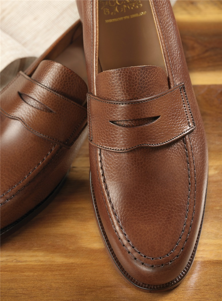 The Harvard Loafer in Tan Pebble Grain