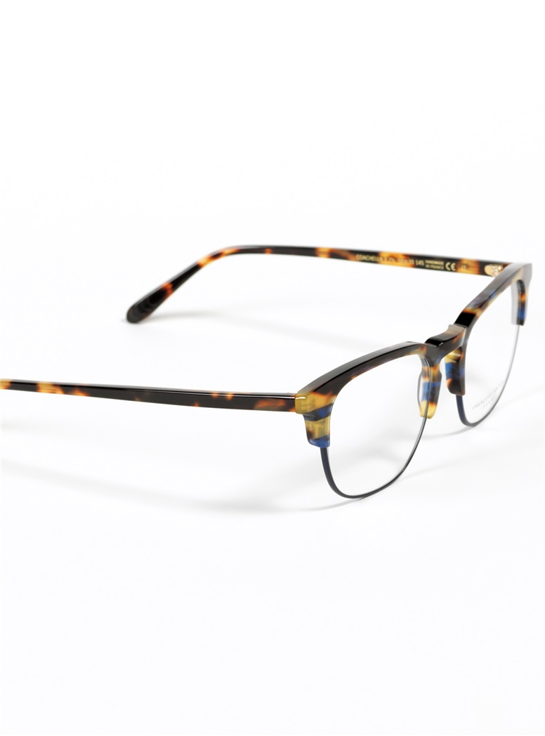 Traditional Brow Frame in Tortoise with Blue Rim