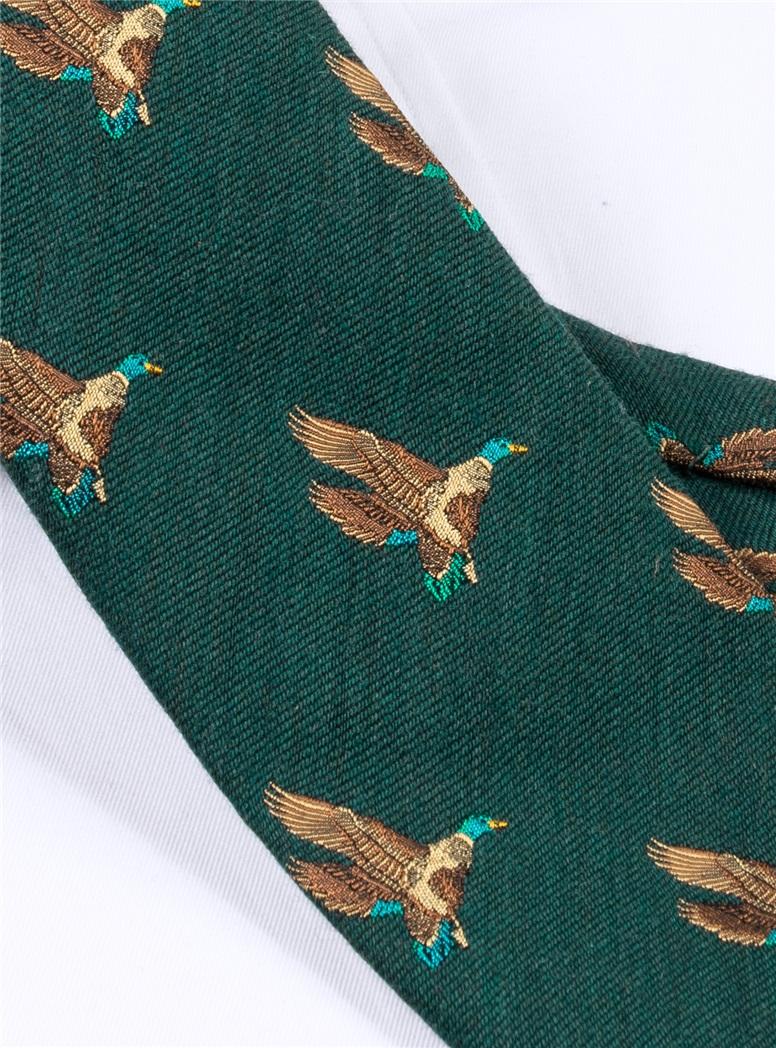 Silk Woven Flying Ducks Motif Tie in Forest