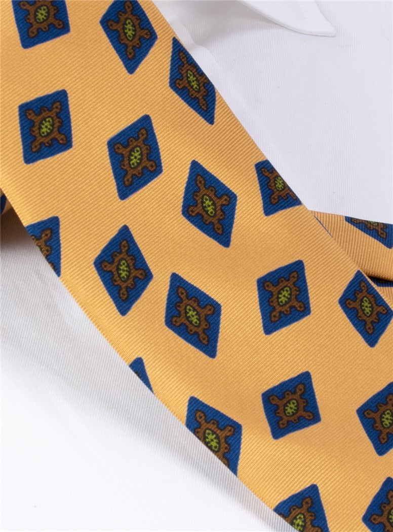 Silk Printed Diamond Motif Tie in Marigold