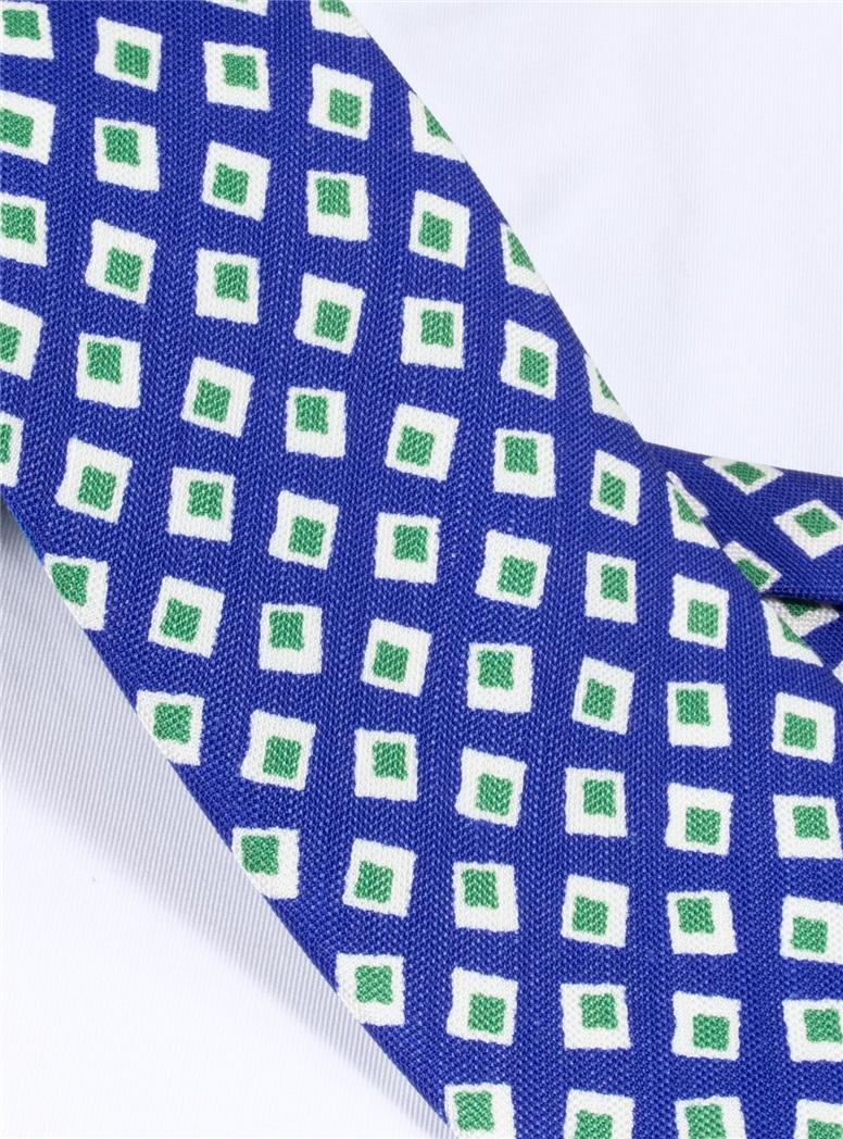 Silk and Linen Diamond Motif Printed Tie in Royal