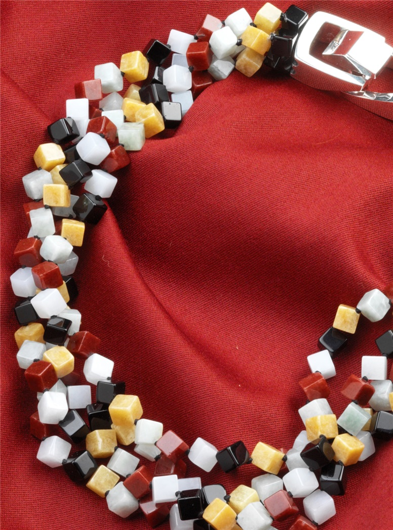 4-Strand Multi-Color Jade Necklace with Sterling Silver Closure