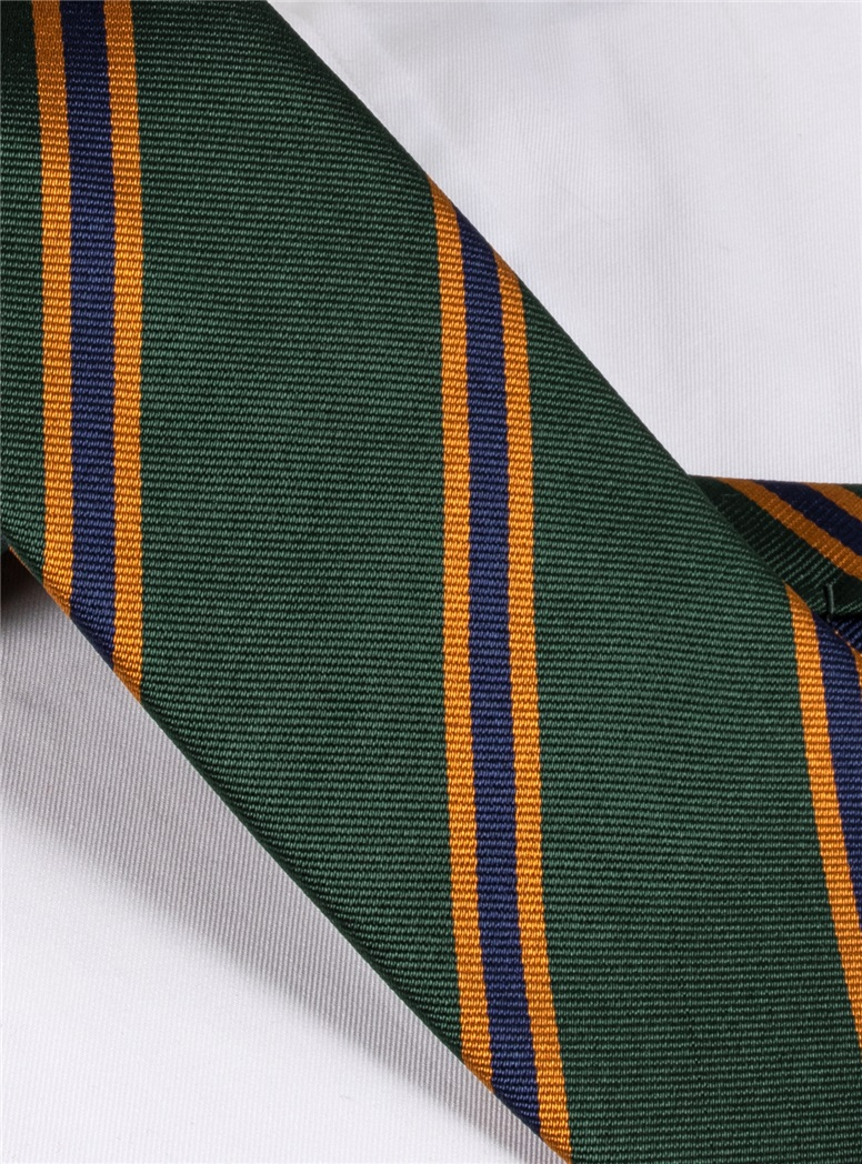 Silk Stripe Tie in Forest