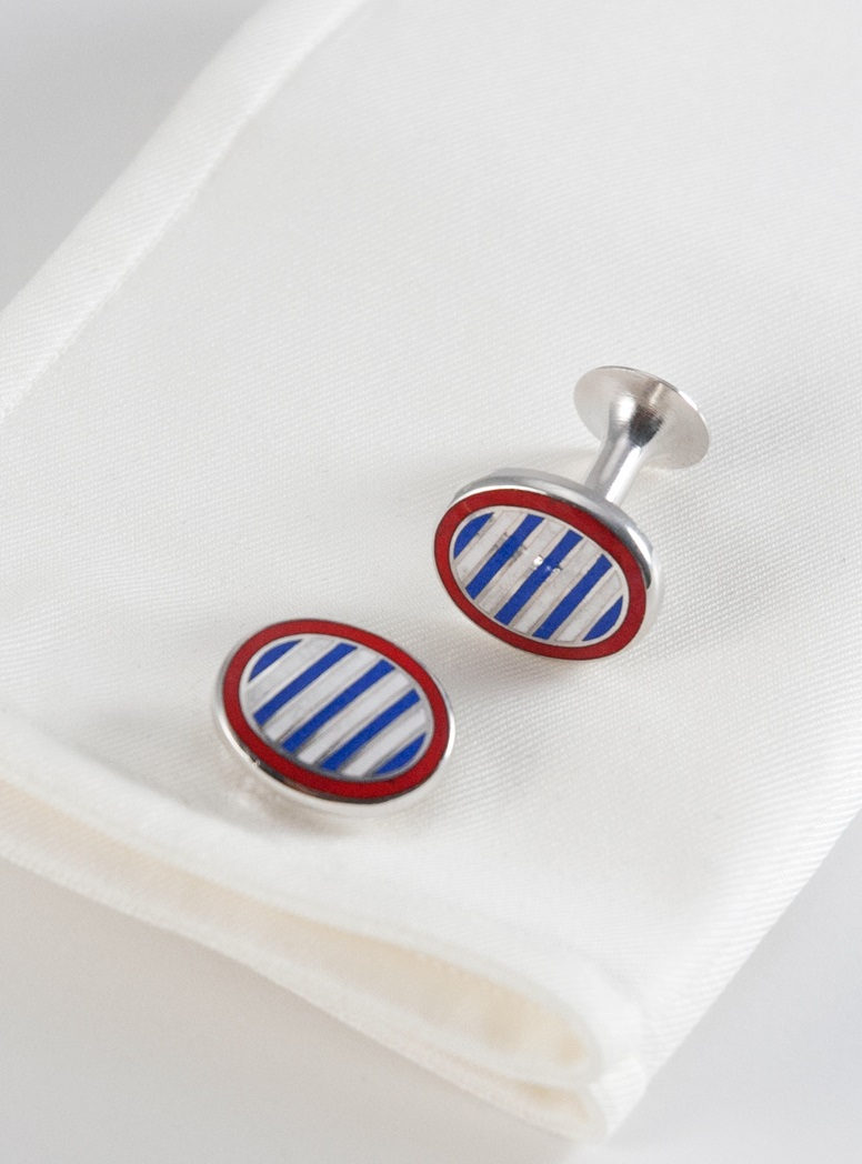 Oval Cufflinks in Red with Lapis and White Stripes