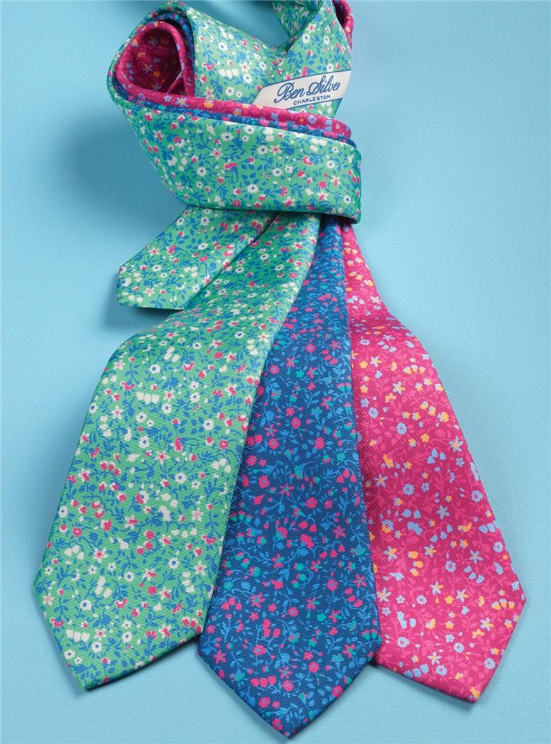 Silk Floral Printed Tie in Fuchsia