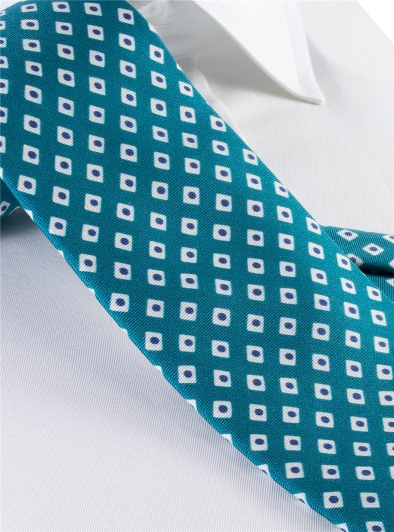 Silk Diamond Motif Tie in Teal