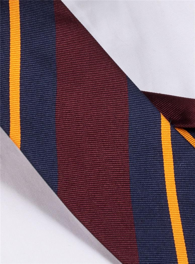 Silk Multi-Stripe Tie in Burgundy