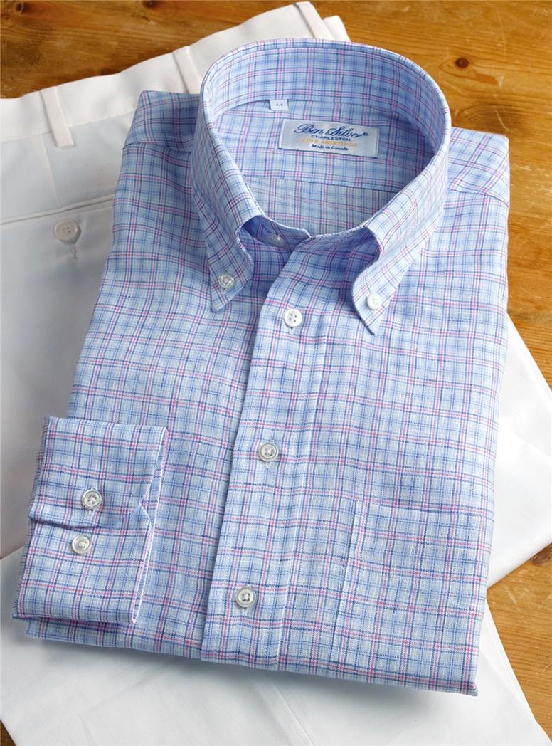Linen Blue and Pink Plaid Buttondown
