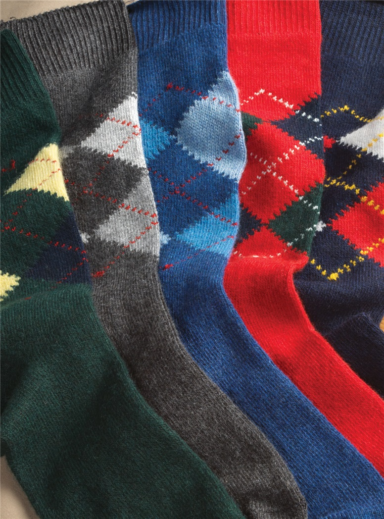 Cashmere Blend Argyle Socks