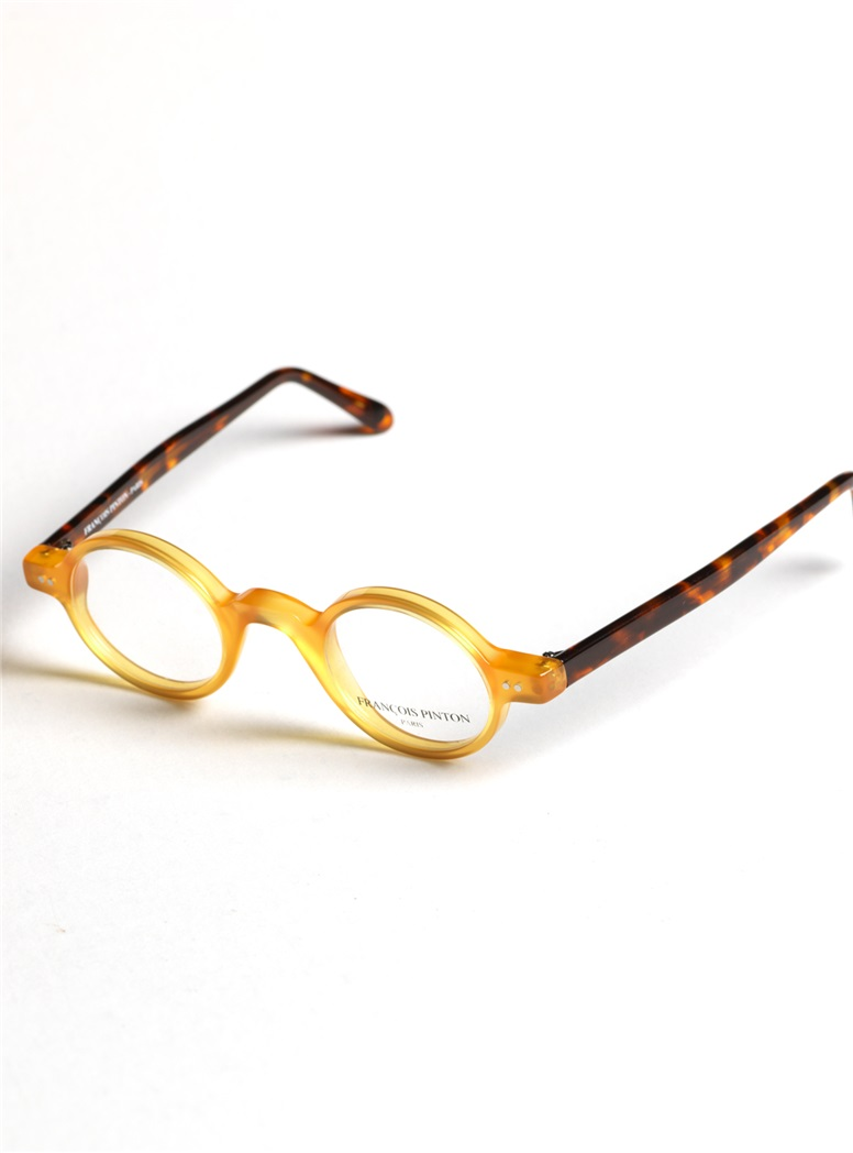 Archival Round Frame in Honey with Tortoise Temples