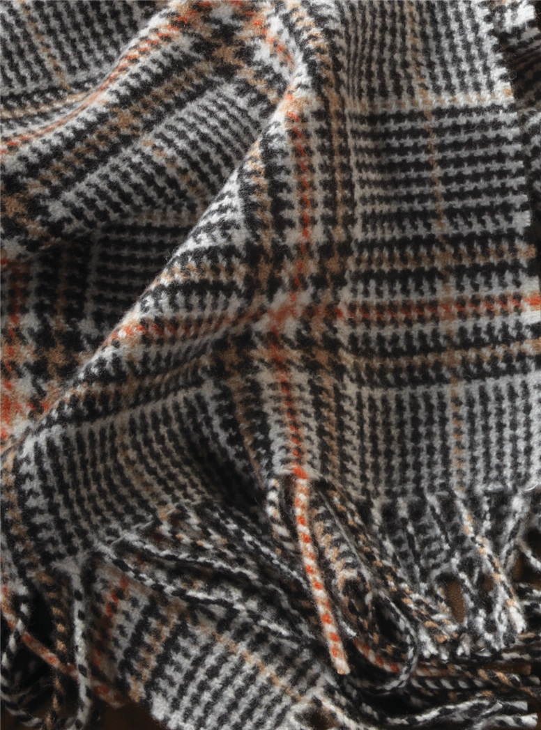 Cashmere Vintage Plaid Scarf in Cream and Camel with Windowpanes
