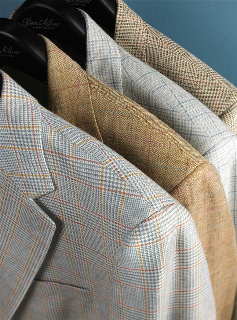 Grey and Cream Glen Plaid Silk & Cashmere Sport Coat with Blue Windowpane