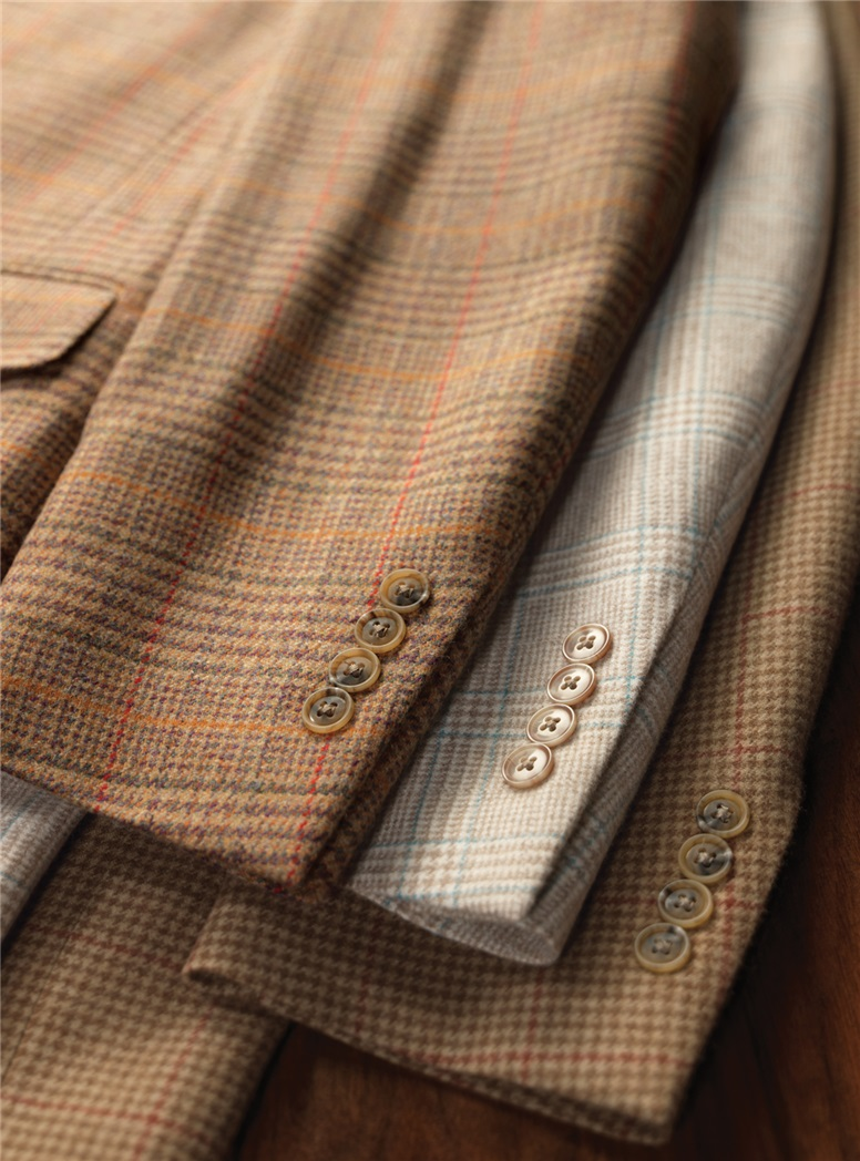 Nut Brown Cashmere Sport Coat With Cedar Ground and Red Windowpane