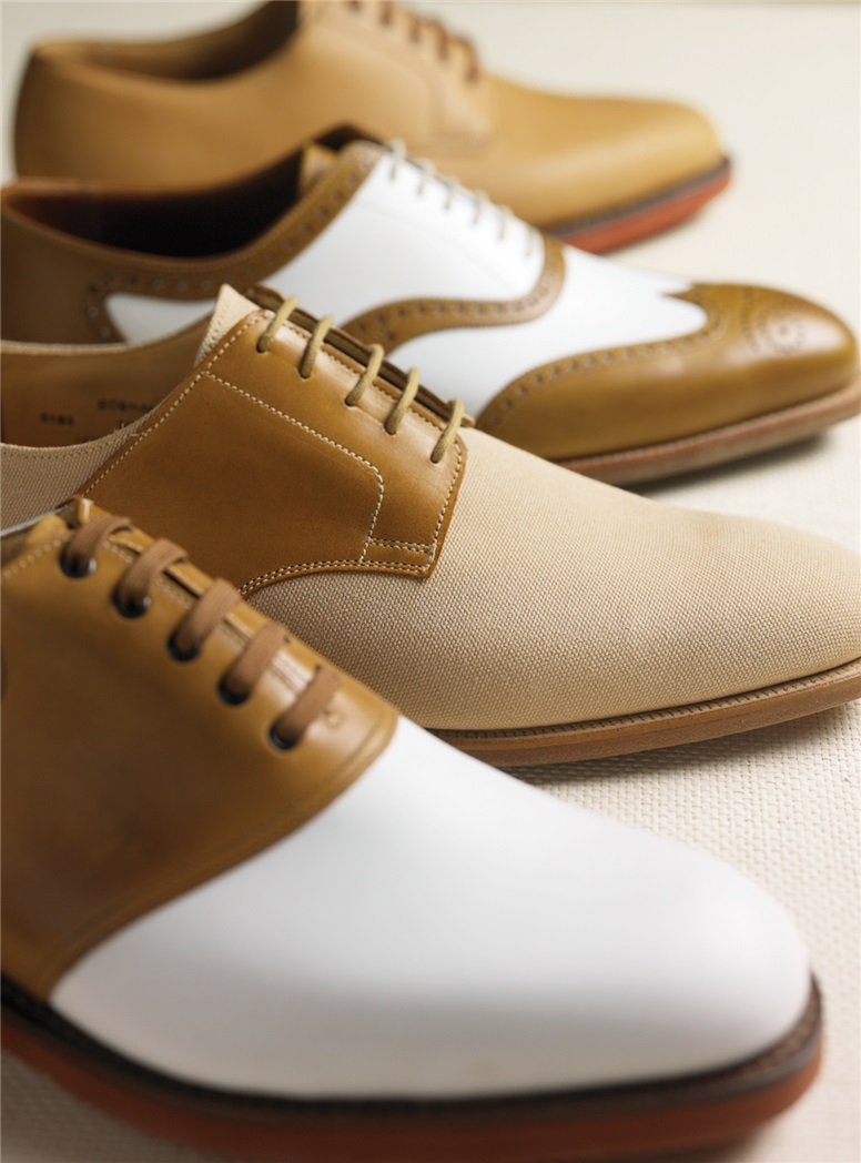 The Cannock Saddle Shoe in White & Tan