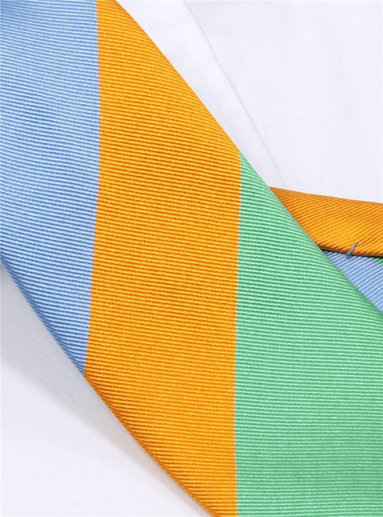 Woven Block Stripe Tie in Tangerine, Mint and Sky