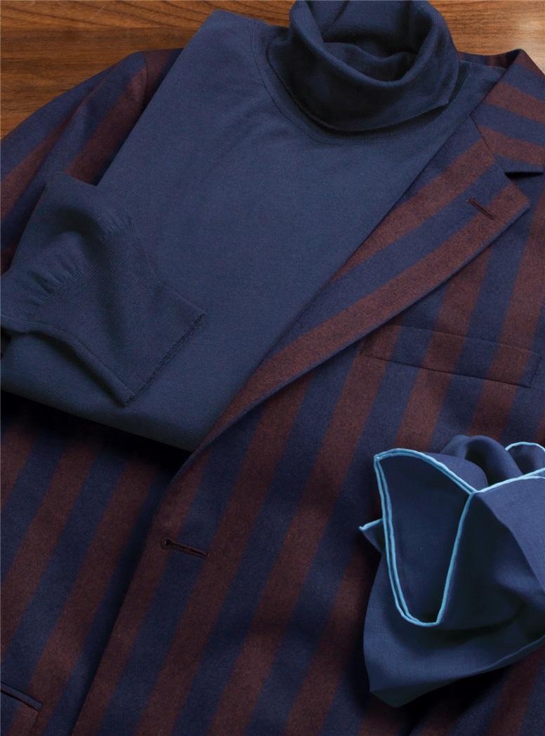 Burgundy and Navy Vertical Striped Wool Blazer