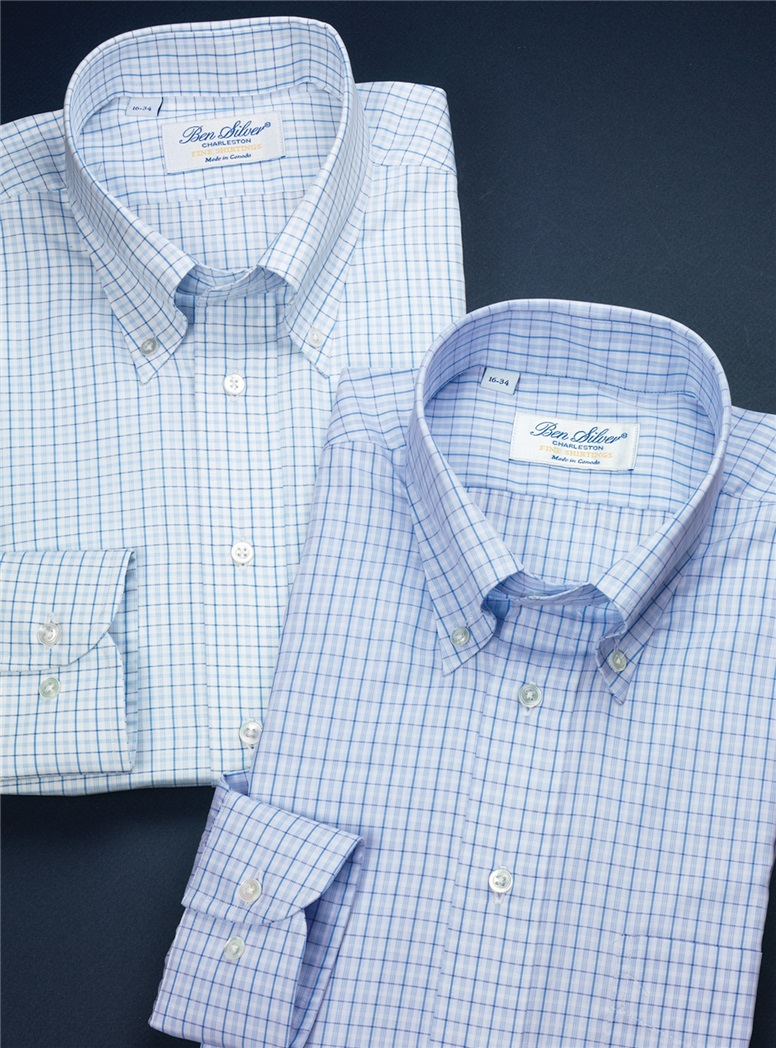 Sky Blue Button Down with Blue and Purple Check