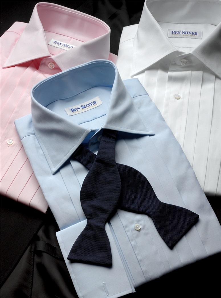 Blue Pleated Tuxedo Shirt