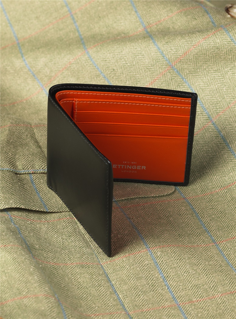 Fine Leather Billfolds in Black with Contrasting Interior