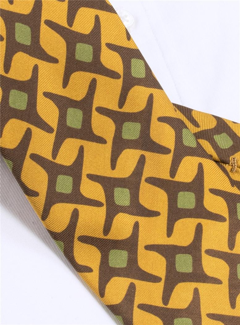 Silk Starburst Printed Tie in Mustard