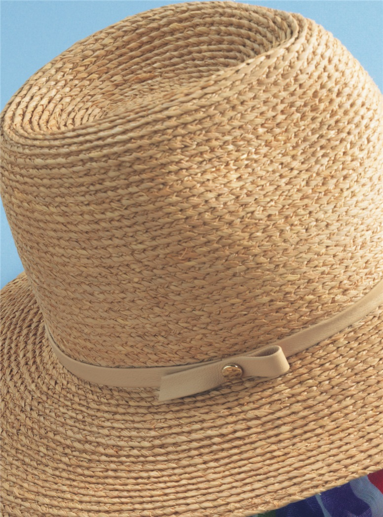 Ladies Fine-braid Raffia Fedora in Desert