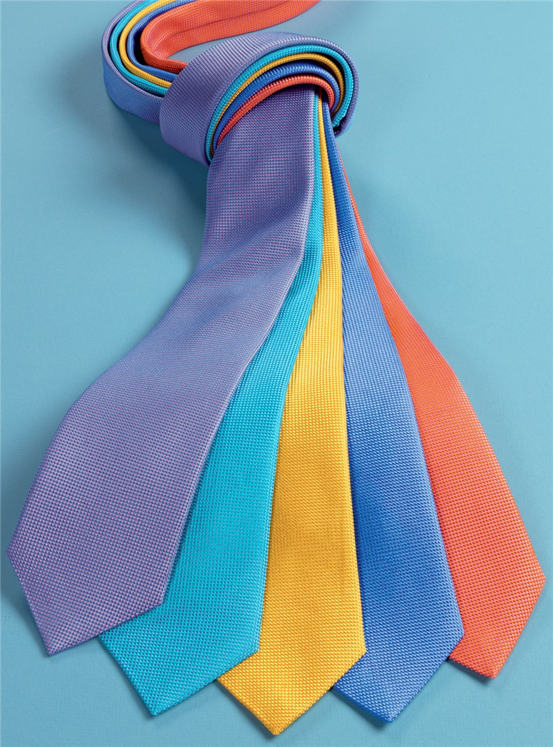 Silk Basketweave Tie in Cornflower Blue