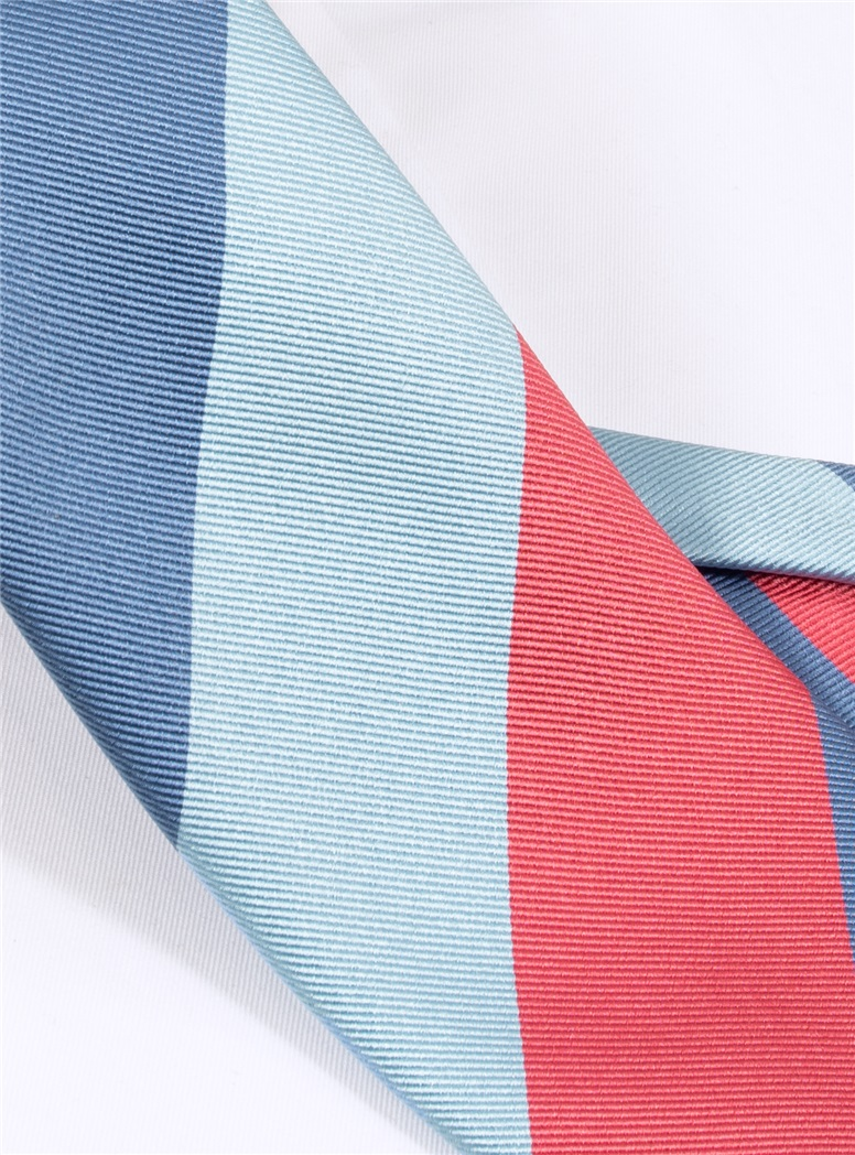 Woven Block Stripe Tie in Rose, Denim and Ice Blue