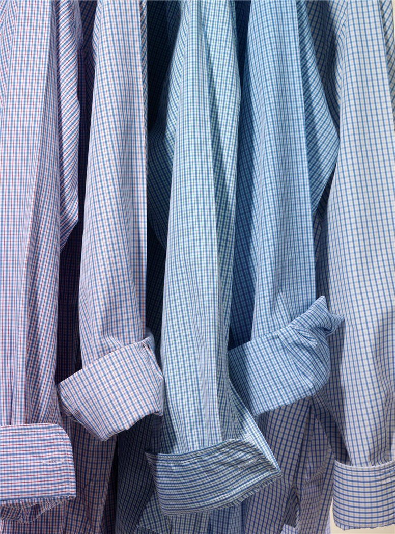 Blue and Light Blue Check Button Down