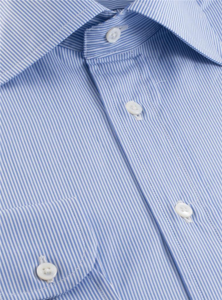 Blue & White Pinstripe Spread Collar