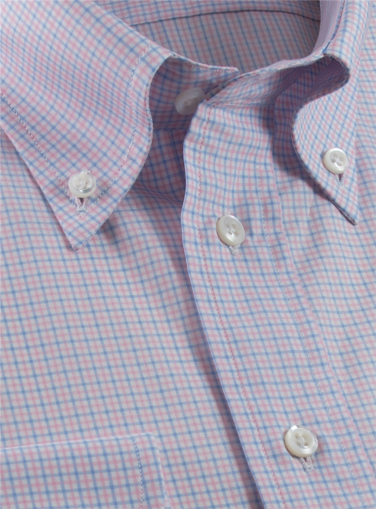 140s Sky and Pink Check Button Down