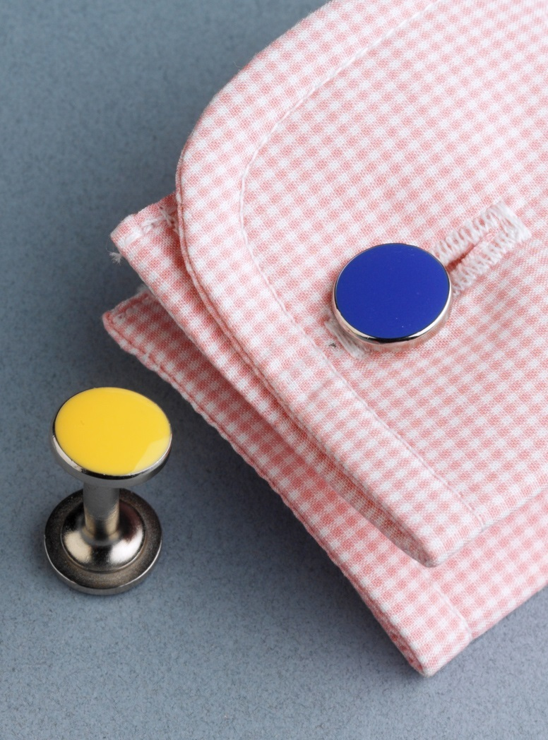 Double-Ended Cufflinks in Yellow and Blue
