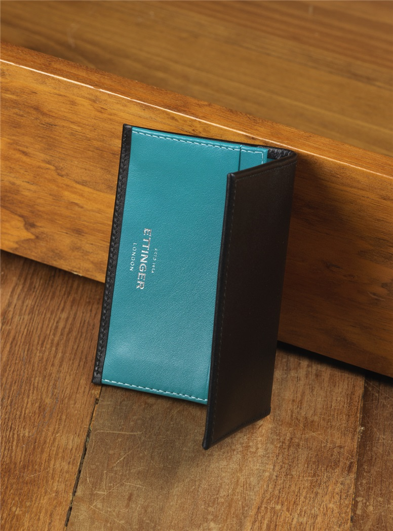 Fine Leather Card Cases in Black with Contrasting Interior