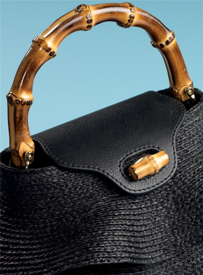 Ladies Ruffle Raffia Bag in Black