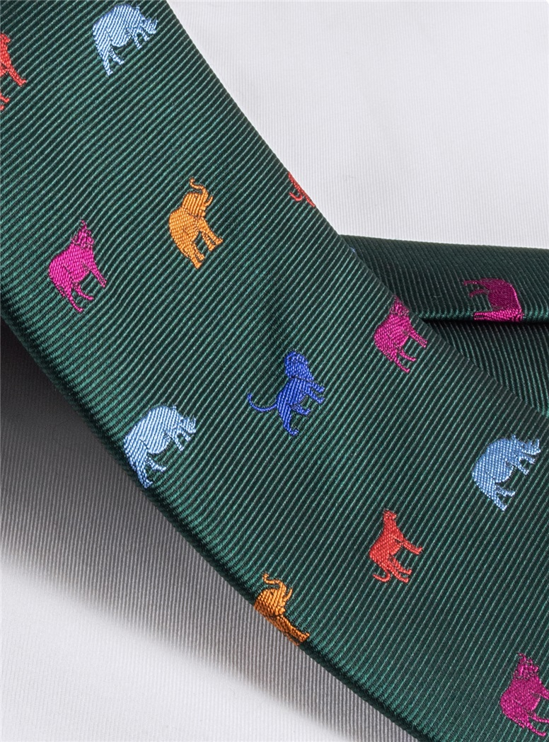 Silk Woven Animal Motif Tie in Forest