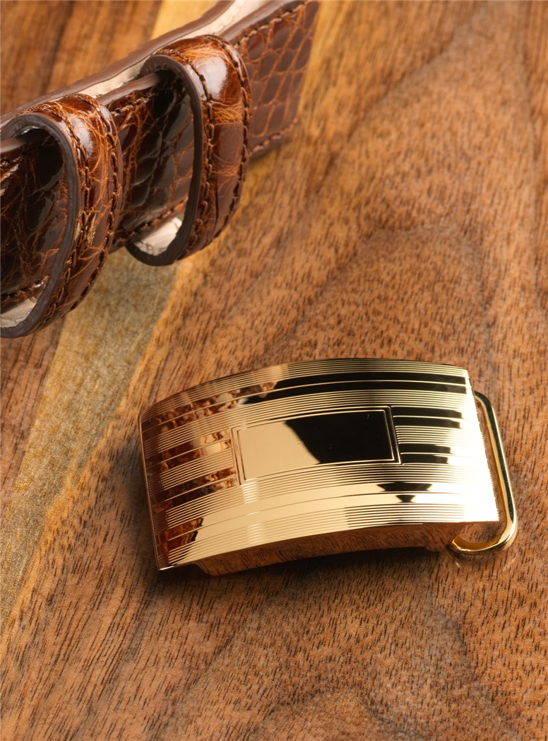 Etched Vermeil Belt Buckle